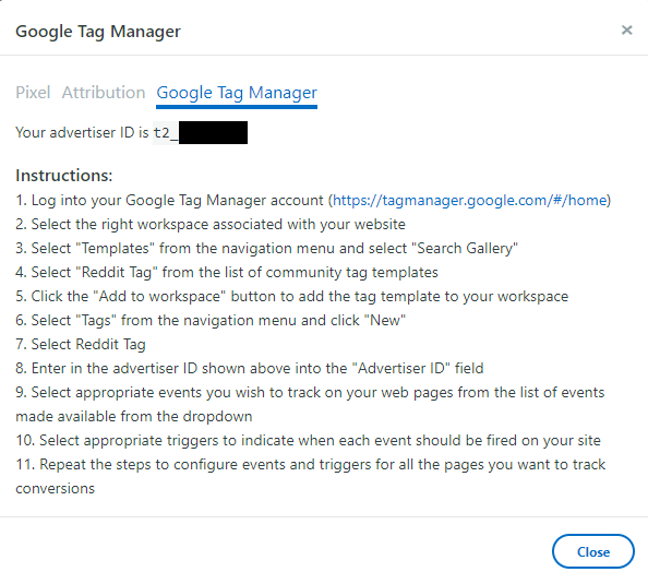 Instructions for setting up a Conversion Event