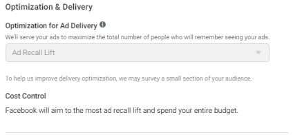 Optimization options for a Brand Awareness Campaign