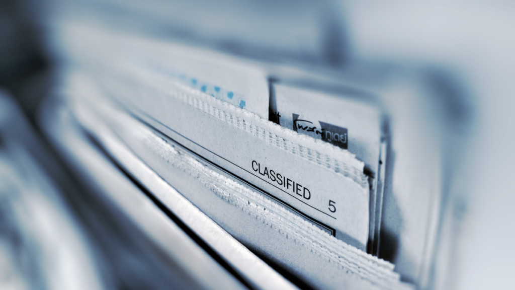 Closeup image of a stack of classified files