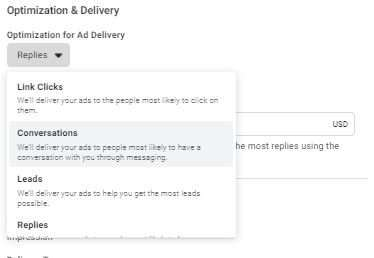 Optimization options of: Link Clicks, Conversations, Leads or Replies