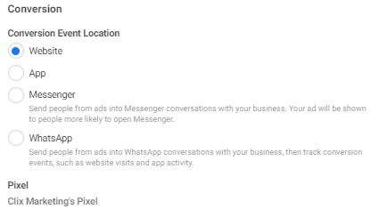 Conversion event location of: website, app, messenger, or WhatsApp