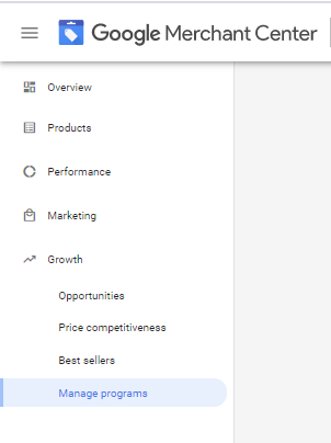 Menu pointing to Growth dropdown and selecting Manage programs