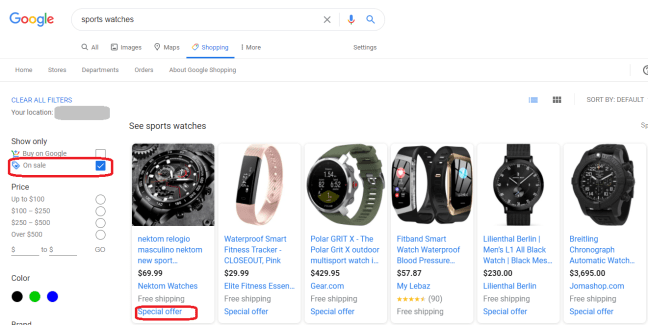 Google shopping filters displaying On Sale items.