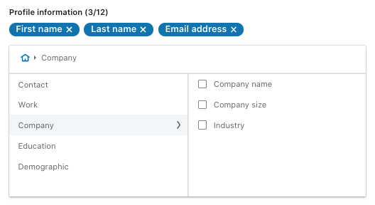 Lead generation form questions for LinkedIn ads