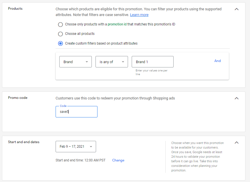 Options for products, promo codes, and sale dates