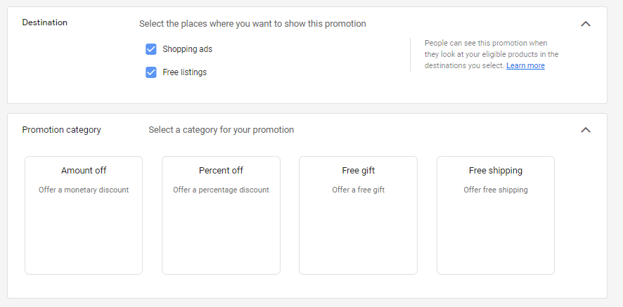 Options for promotion destination and category