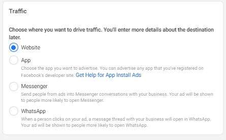 Destination options of: Website, App, Messenger, and WhatsApp