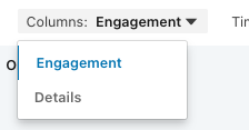 LinkedIn engagement report column settings