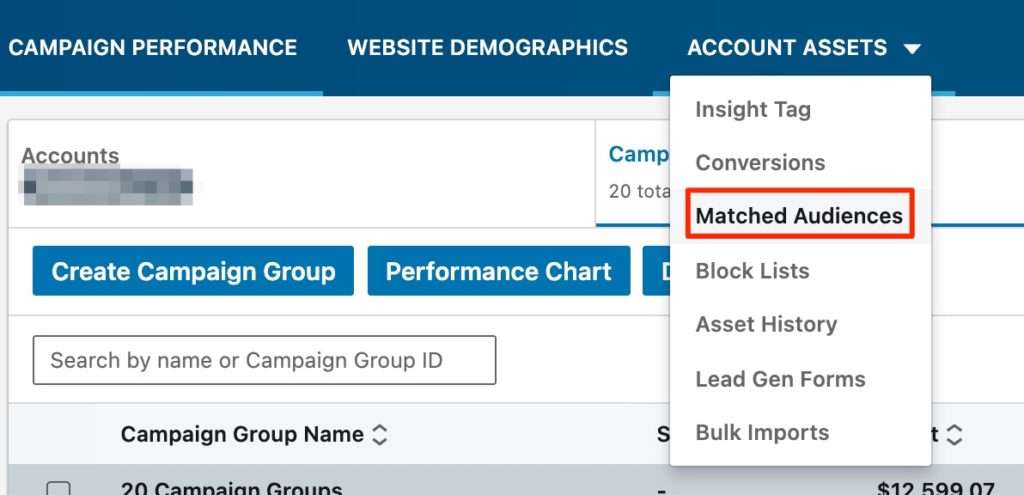 Matched audiences for LinkedIn ads