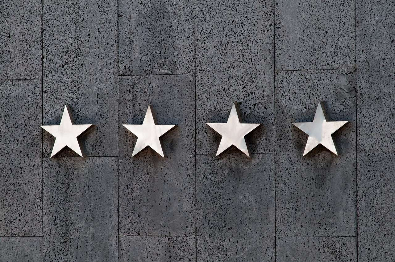 Star rating on a wall