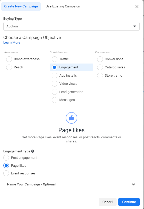 Facebook ads manager panel showing how to create a new Facebook page likes campaign
