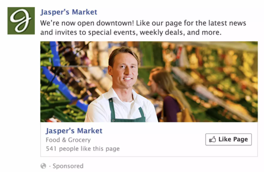 Example of a grocery store's Facebook ad