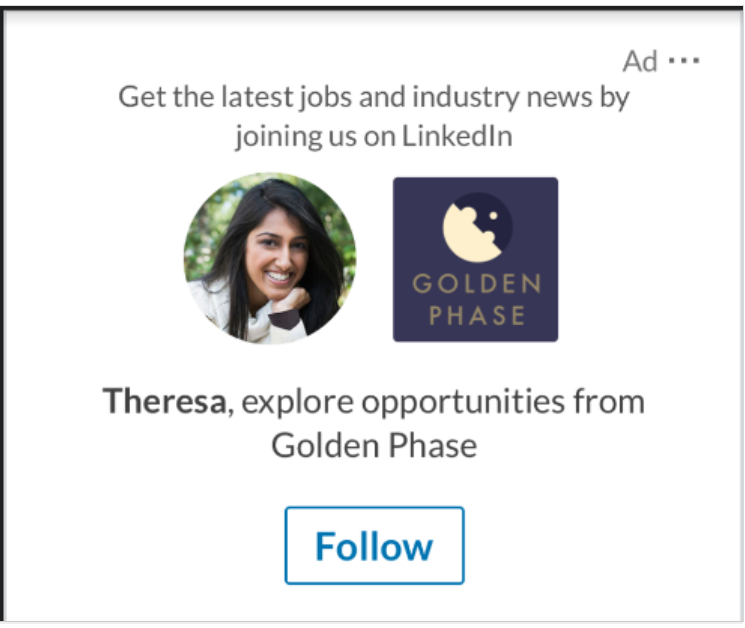 Example ad for a LinkedIn ad with the goal of getting page followers