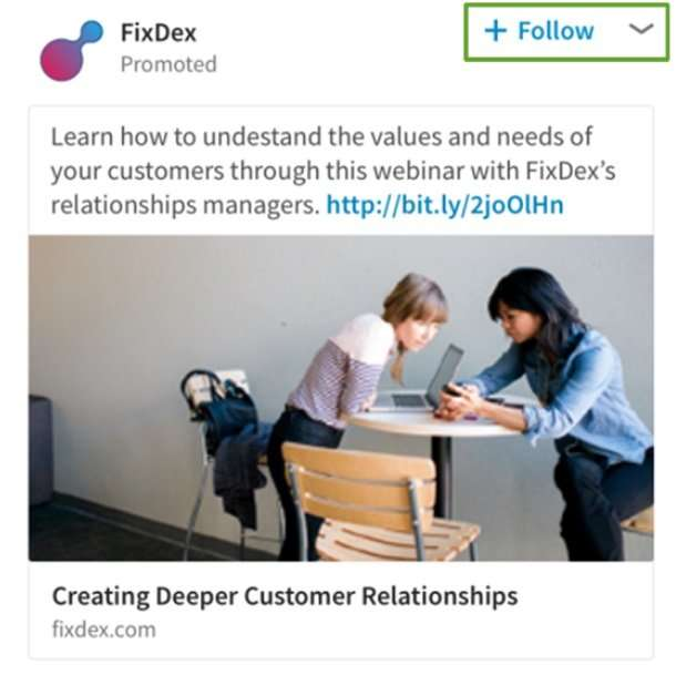 Example LinkedIn ad showing follow button