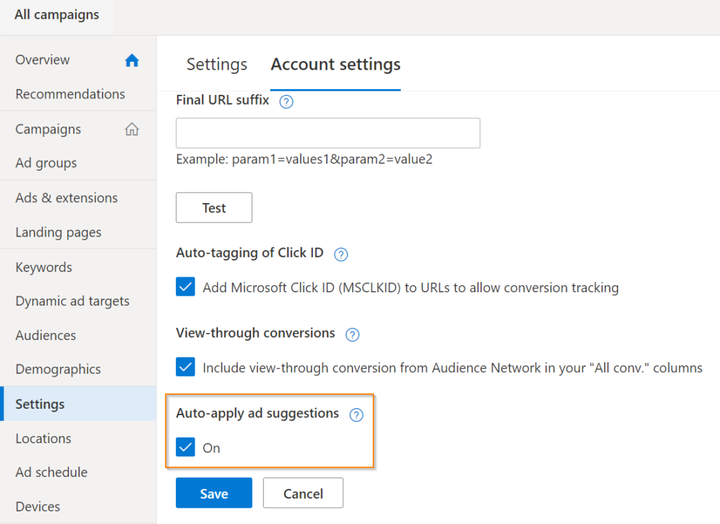 Ad settings suggestions for Microsoft Ads