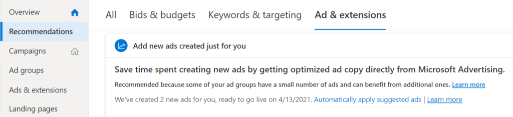 Ad recommendations panel in Microsoft ads