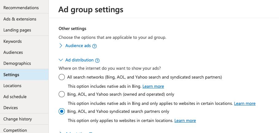 DuckDuckGo ad group settings panel