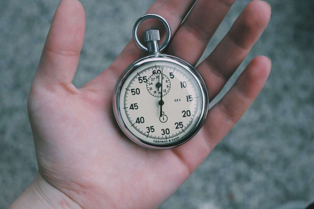Hand with stopwatch representing time management