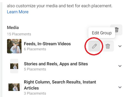 How to edit Facebook Shops ad media