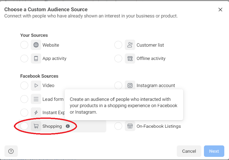 Where to find audiences in Facebook Shop ads