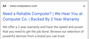 Example of a website ad that reads—Need a Reliable Computer? We Hear You at Computer Co. Backed By 2 Year Warranty