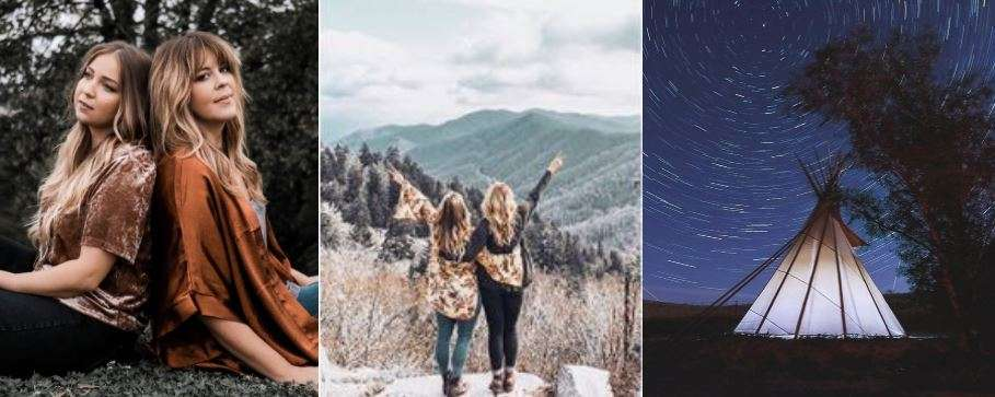 Trifold header photo of influencers and outdoor scenery