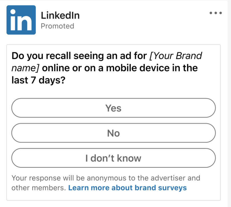 Screenshot of LinkedIn survey question about brand lifting