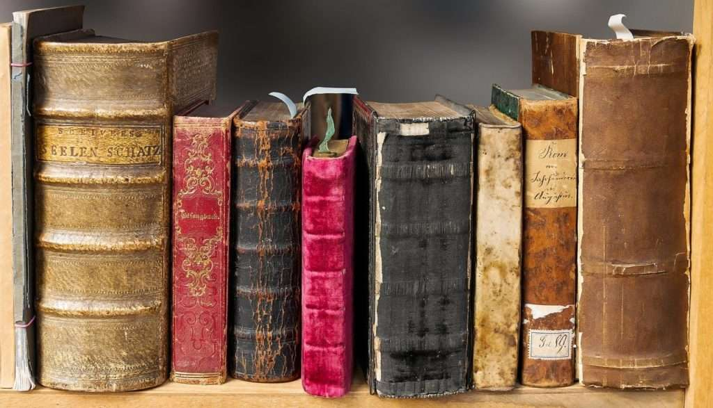 Header photo of a collection of books