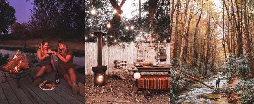 Trifold photos of influencers having a cheers together and outdoor scenery